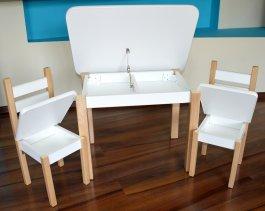 Stůl a dvě židličky ST1 bílo/přírodní