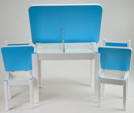 Stůl a dvě židličky ST1 modro/bílá