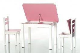 Stůl a dvě židličky ST1 růžovo/bílá