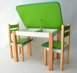 Zvětšit Stůl a dvě židličky ST1 zeleno-přírodní