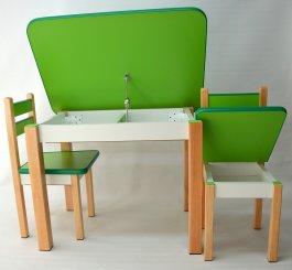 Stůl a dvě židličky ST1 zeleno/přírodní