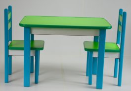 Stůl a dvě židličky ST1 modro/zelená