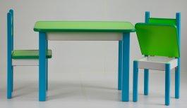 Stůl a dvě židličky ST1 modro-zelená