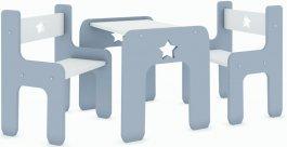 Stůl a dvě židle hvězda šedá
