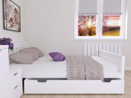 Postel Agata 160/200 cm masiv borovice - bílá