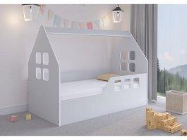 Dětská postel ve tvaru domečku - 160 x 80 cm - šedá