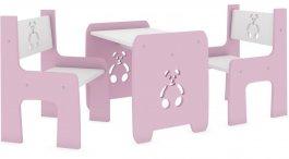 Stůl a dvě židle méďa růžový