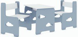 Stůl a dvě židle mráček šedý