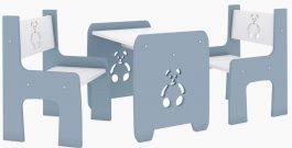 Stůl a dvě židle méďa šedý