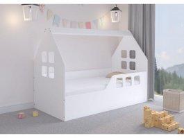 Dětská postel ve tvaru domečku - 160 x 80 cm - bílá
