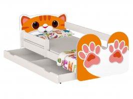 Postel Kočka oranž 160/80 cm + matrace + šuplík