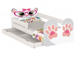 Postel Kočka růžová 180/80 cm + matrace + šuplík