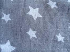 Plena bavlna potisk šedá hvězda