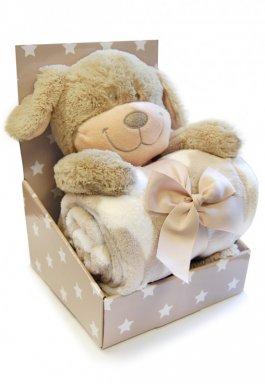 Dětská plyšová deka + hračka -pejsek