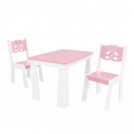 Stůl + dvě židle - méďa růžovo-bílá