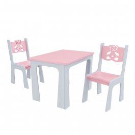 Stůl + dvě židle - méďa růžovo-šedá