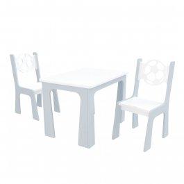 Stůl + dvě židle - míč bílo-šedá