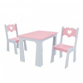 Stůl + dvě židle - srdce růžovo-šedá