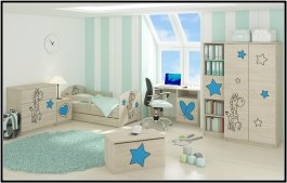 Postel Oskárek X + matrace + šuplík - žirafka modrá